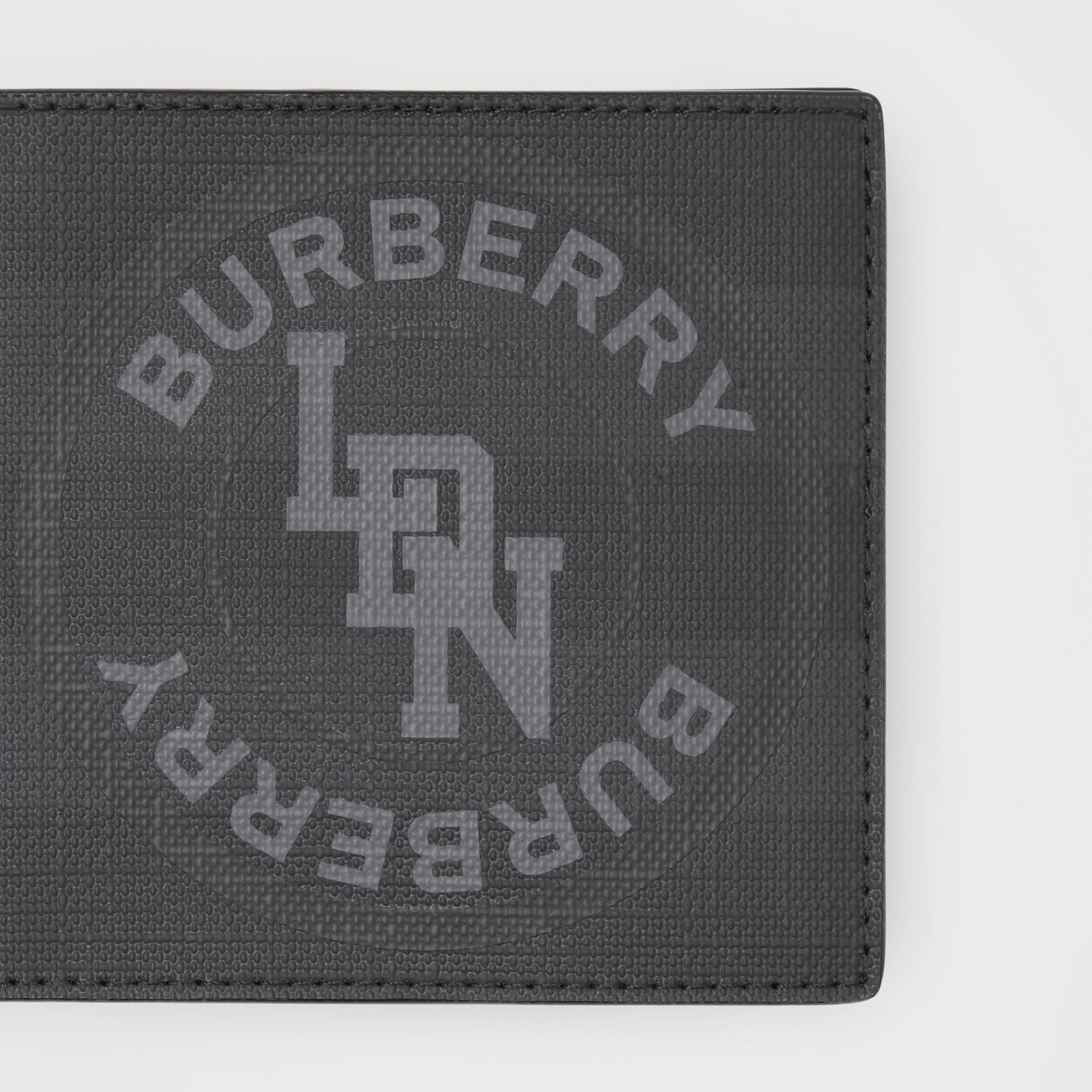 Logo Graphic London Check International Bifold Wallet in Dark Charcoal - Men | Burberry - 2