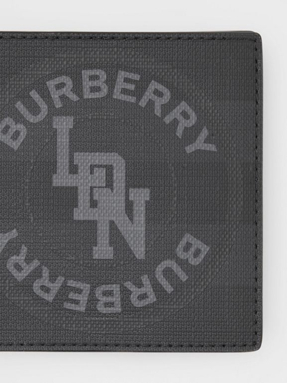 Logo Graphic London Check International Bifold Wallet in Dark Charcoal - Men | Burberry United Kingdom - cell image 1
