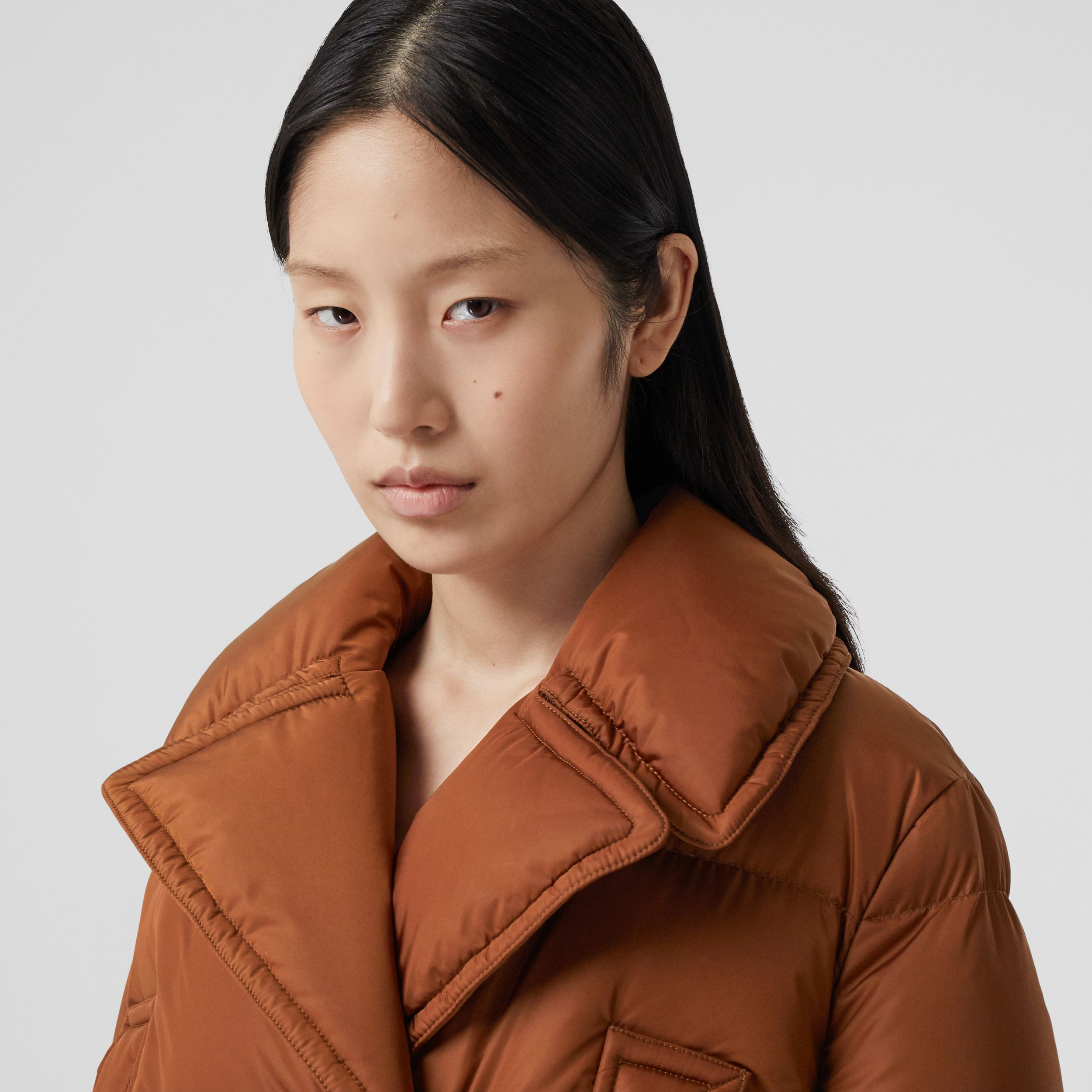 Puffer Jacket Detail Cotton Gabardine Trench Coat in Warm Brown - Women | Burberry Australia - 2