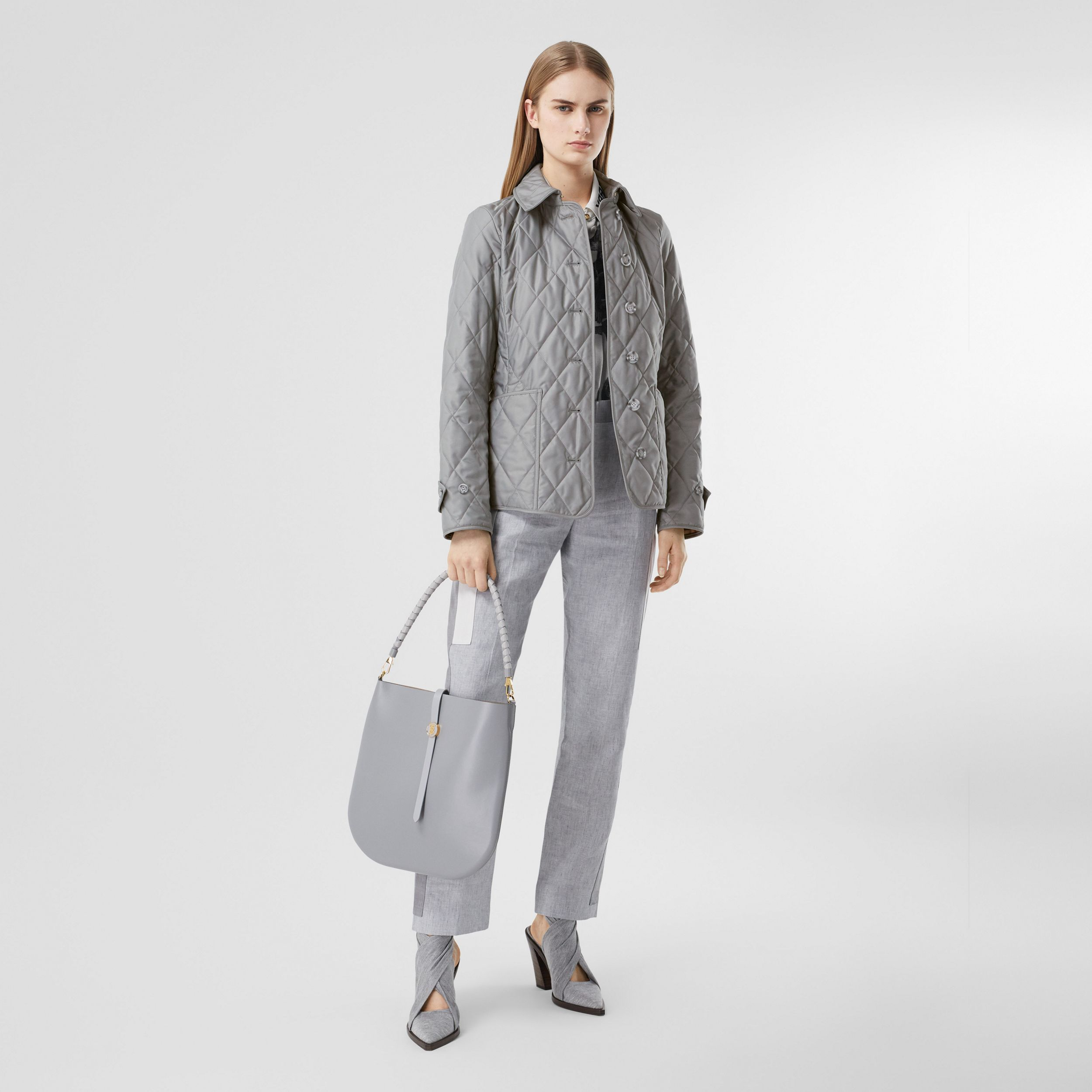Diamond Quilted Thermoregulated Jacket in Mid Grey - Women | Burberry - 1