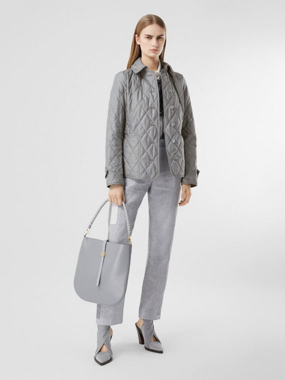 Diamond Quilted Thermoregulated Jacket in Mid Grey