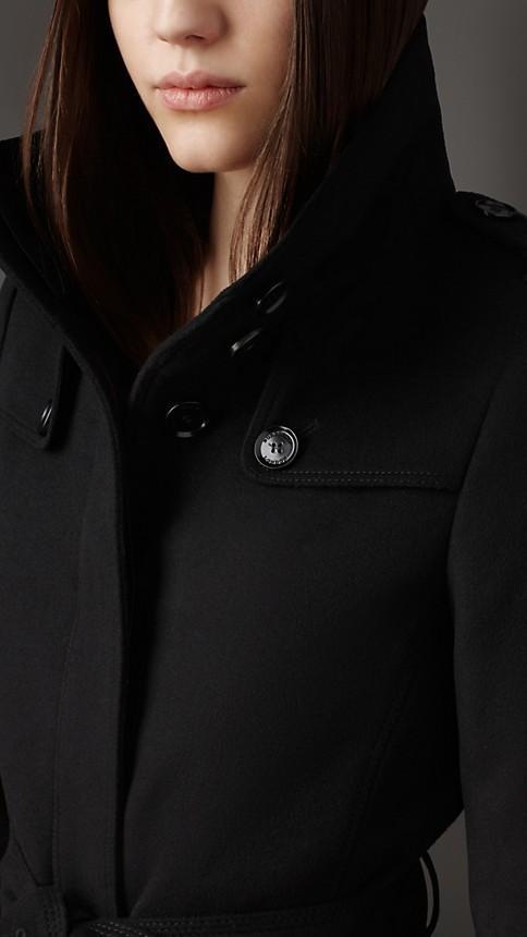 Black Fitted Virgin Wool Coat - Image 3