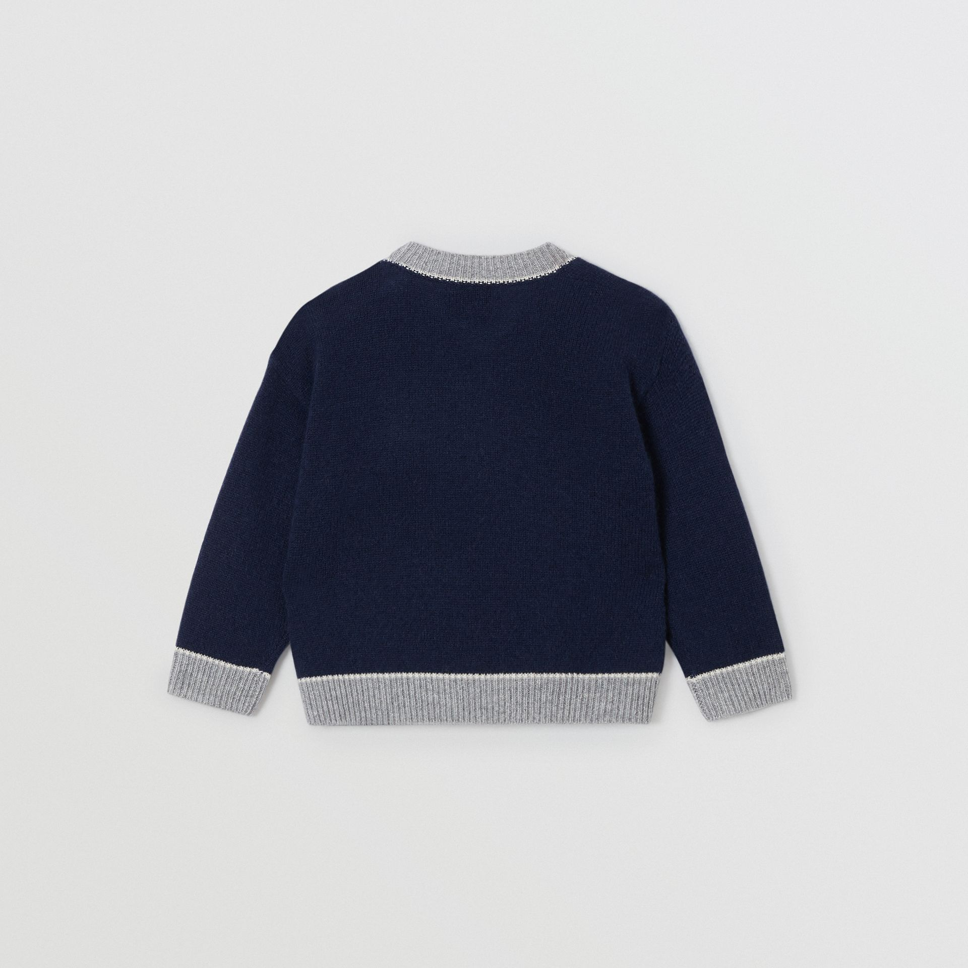 Thomas Bear Detail Wool Cashmere Sweater in Navy - Children | Burberry Canada - gallery image 3