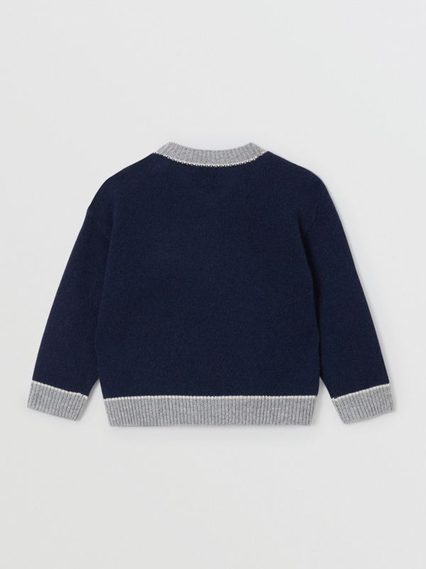 Thomas Bear Detail Wool Cashmere Sweater in Navy - Children | Burberry Canada - cell image 3