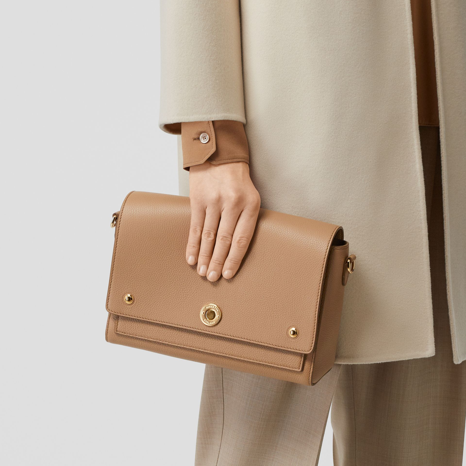 Grainy Leather Note Crossbody Bag in Camel - Women | Burberry - gallery image 8