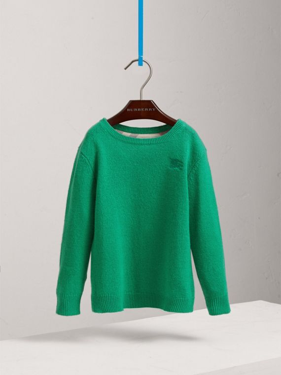 Check Elbow Patch Cashmere Sweater in Bright Green | Burberry - cell image 2