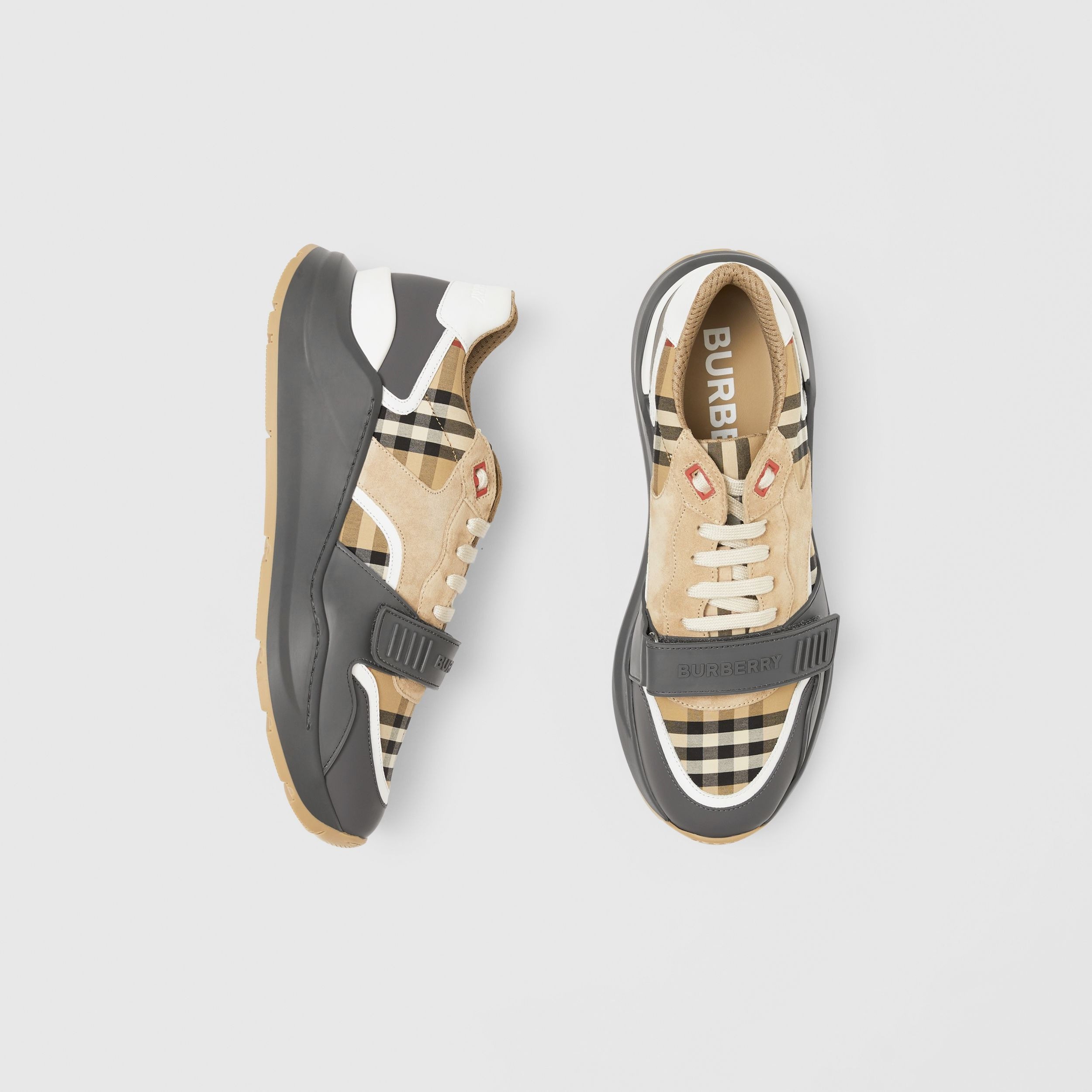 Vintage Check, Suede and Leather Sneakers in Grey/archive Beige - Men | Burberry - 1