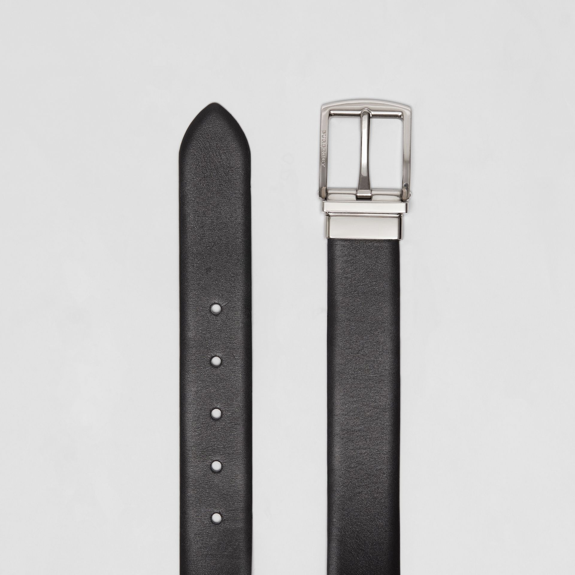 Reversible Leather Belt in Black - Men | Burberry - gallery image 5