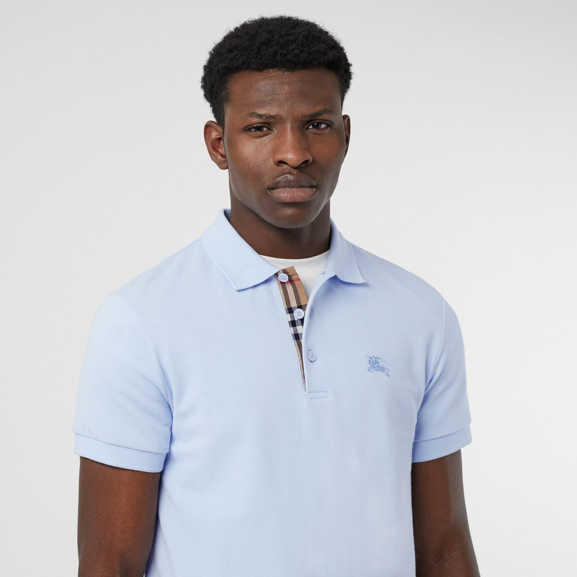 Check Placket Cotton Polo Shirt in Baby Blue - Men | Burberry - gallery image 1