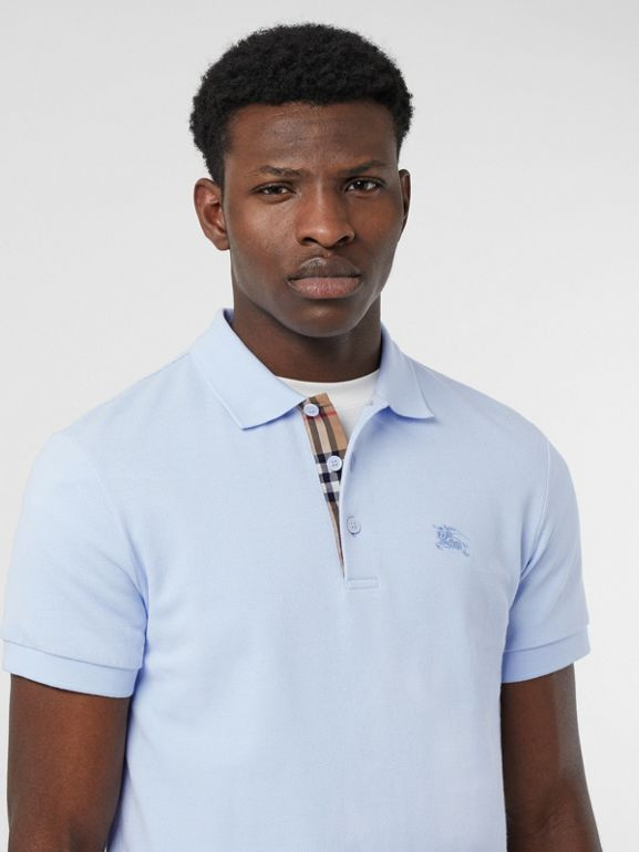 Check Placket Cotton Polo Shirt in Baby Blue - Men | Burberry - cell image 1