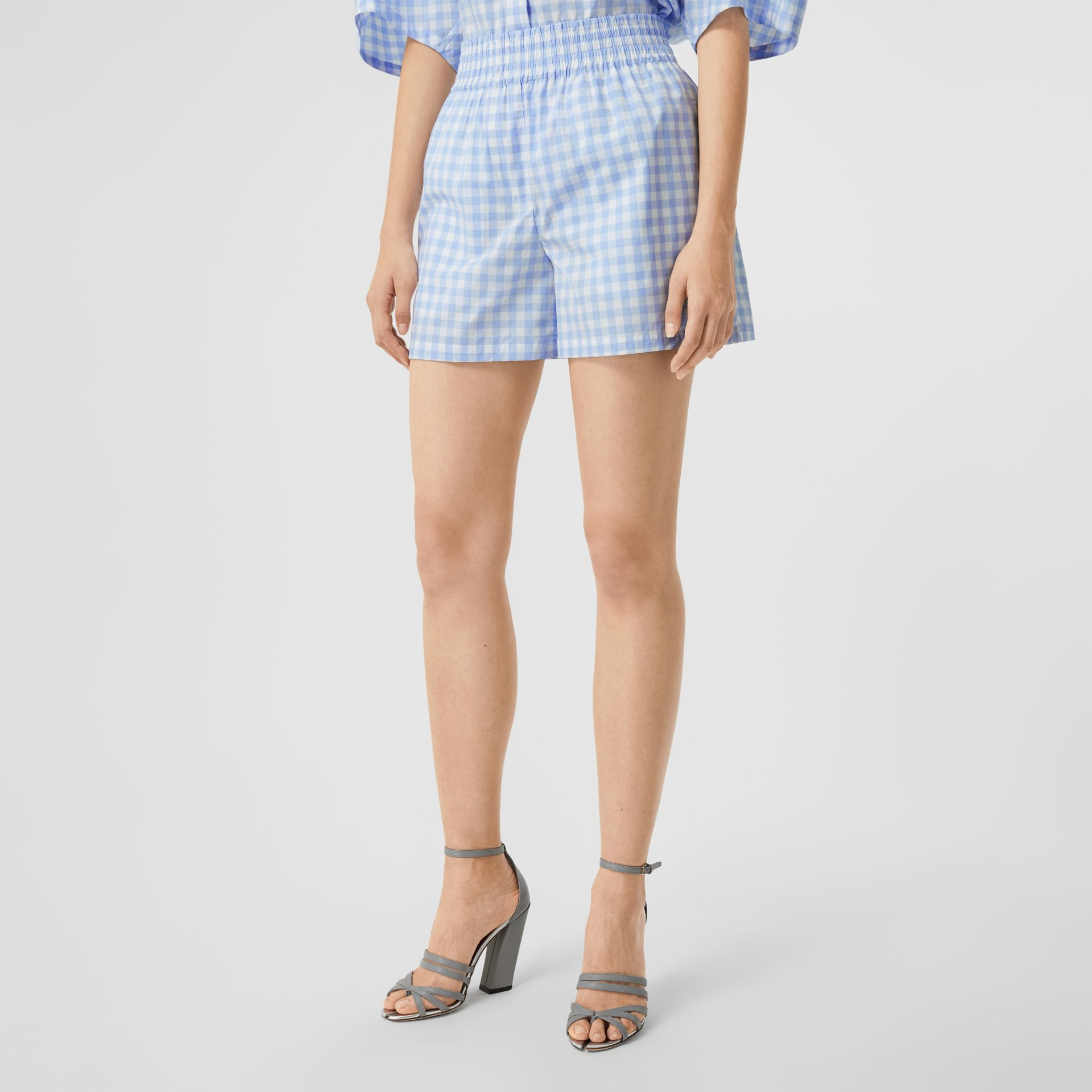 Gingham Cotton Shorts in Pale Blue - Women | Burberry - gallery image 4