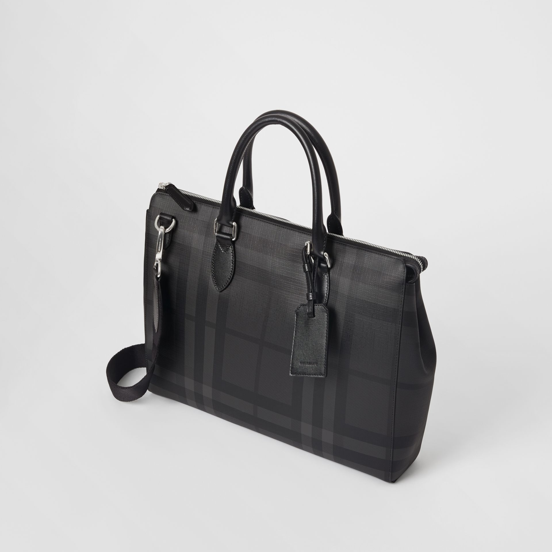 Large London Check Briefcase in Charcoal/black - Men | Burberry - gallery image 0