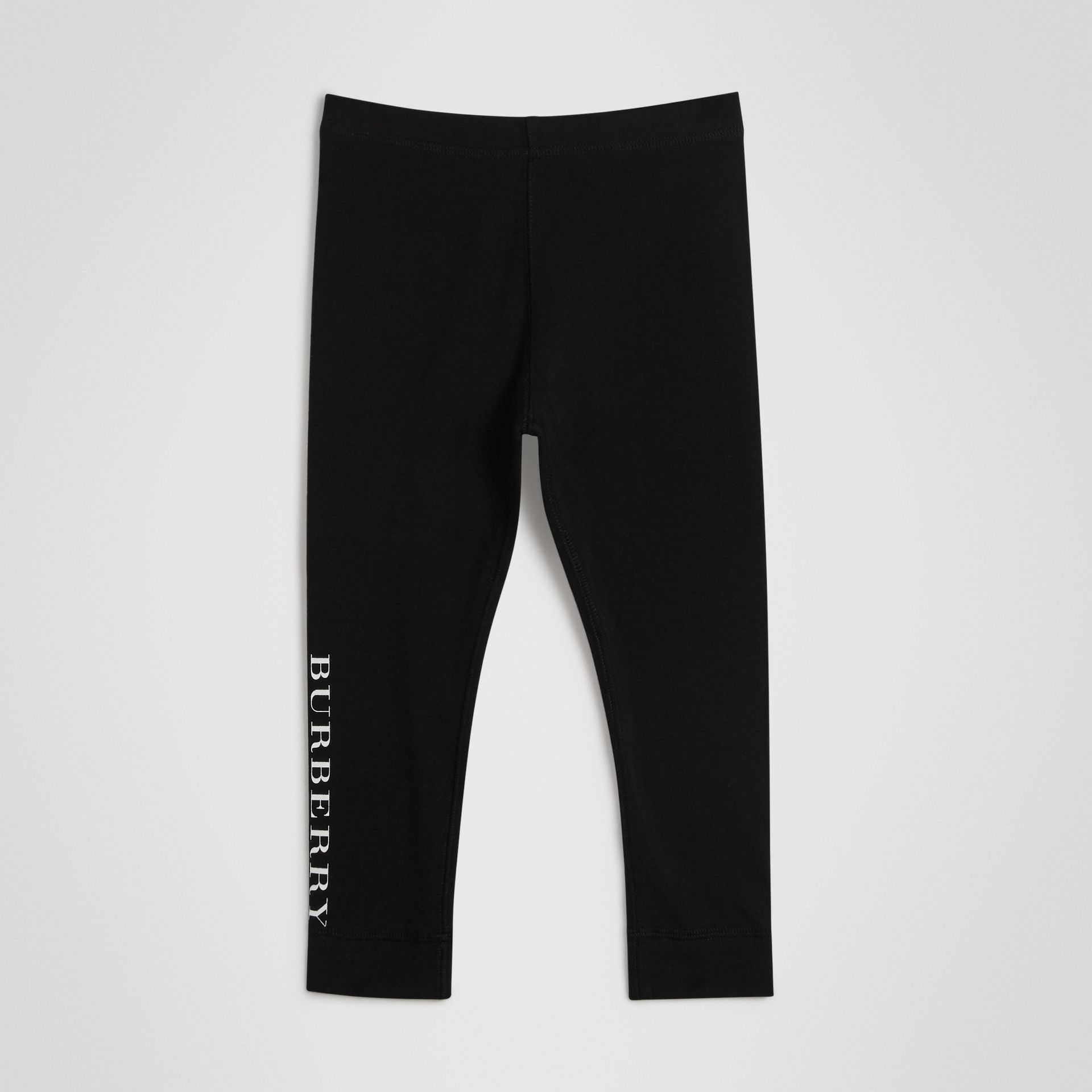 Legging en coton extensible avec logo (Noir) | Burberry - photo de la galerie 0