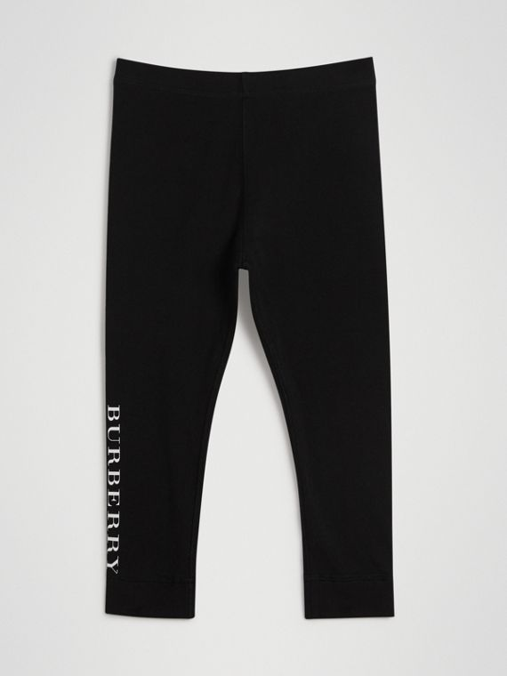 Leggings in cotone stretch con logo (Nero)