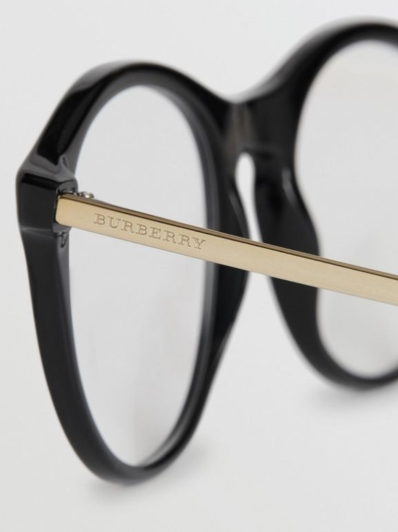 Vintage Check Detail Round Optical Frames in Black - Women | Burberry - cell image 1