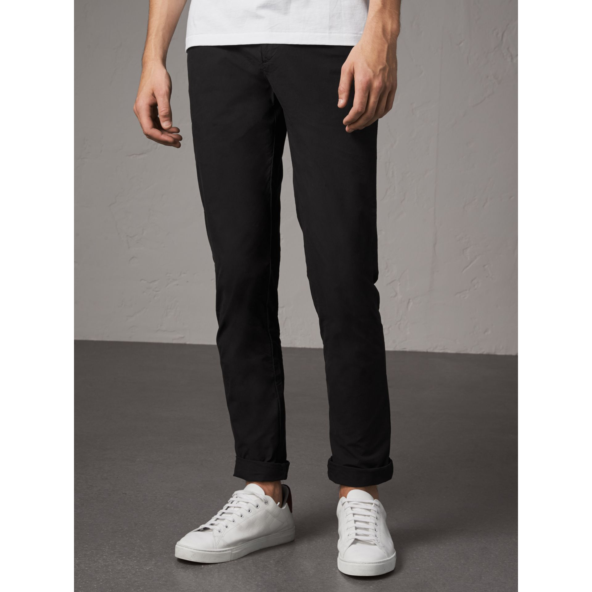 Slim Fit Cotton Poplin Chinos in Black - Men | Burberry Australia - gallery image 5