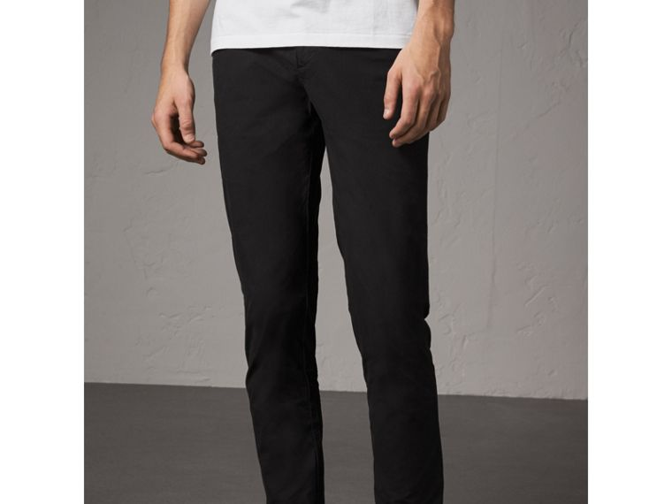 Slim Fit Cotton Poplin Chinos in Black - Men | Burberry Australia - cell image 4