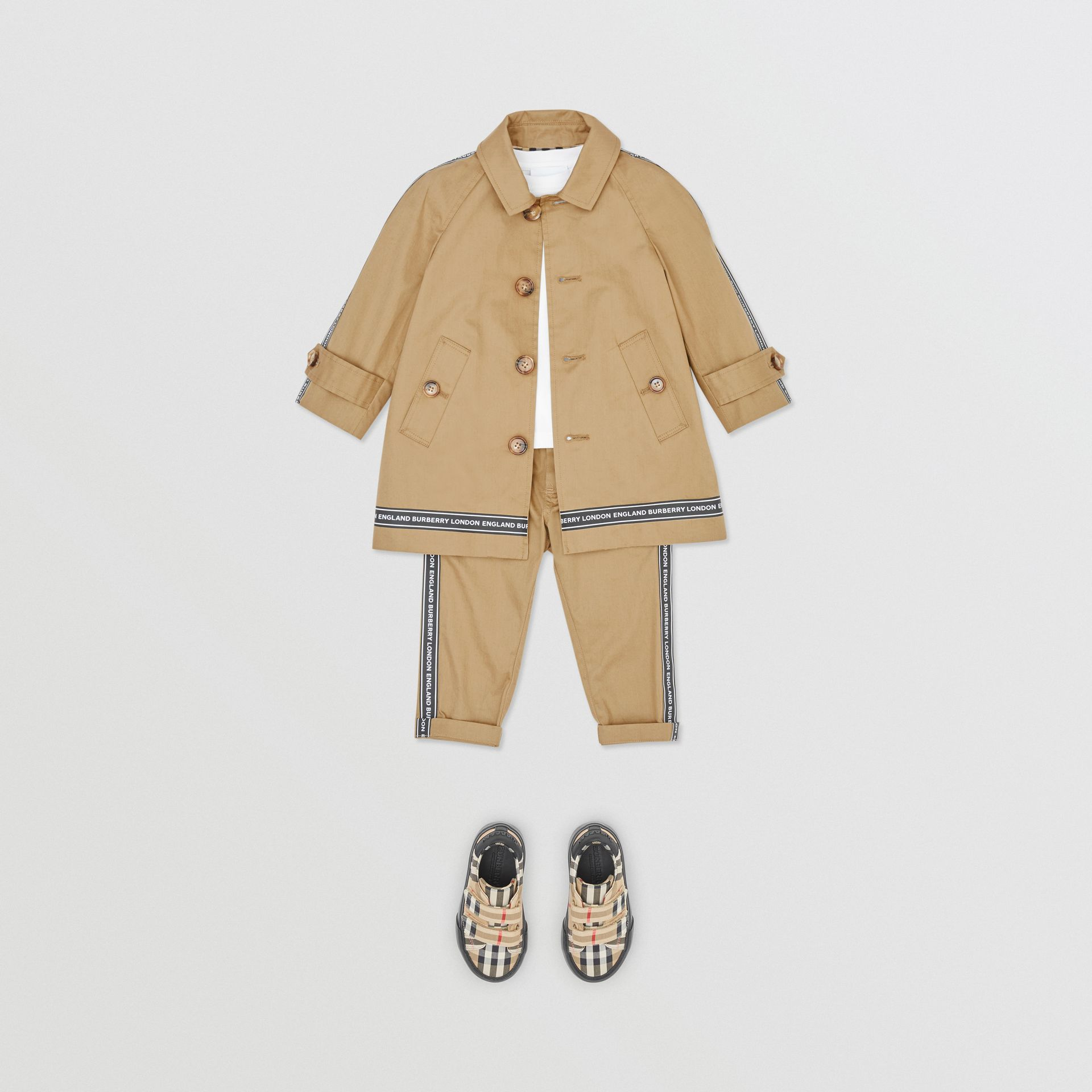 Logo Tape Cotton Car Coat in Honey - Children | Burberry - gallery image 2