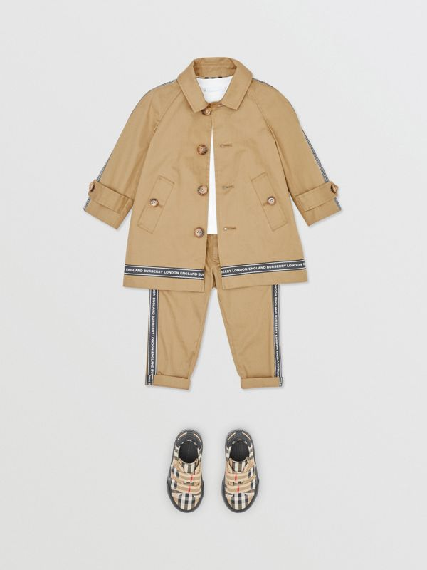 Logo Tape Cotton Car Coat in Honey - Children | Burberry - cell image 2