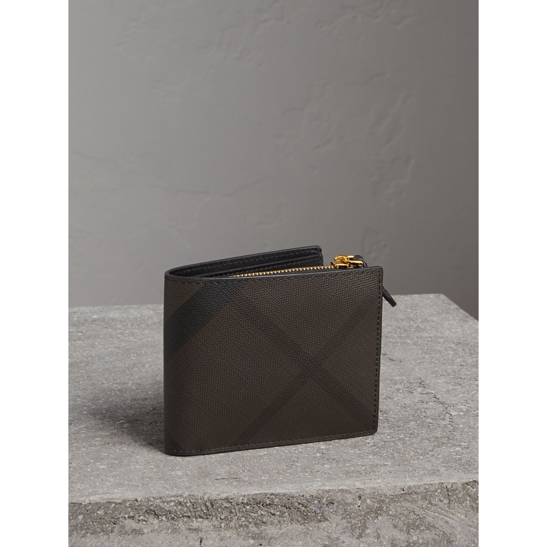 London Check International Bifold ID Coin Wallet in Chocolate/black - Men | Burberry - gallery image 1