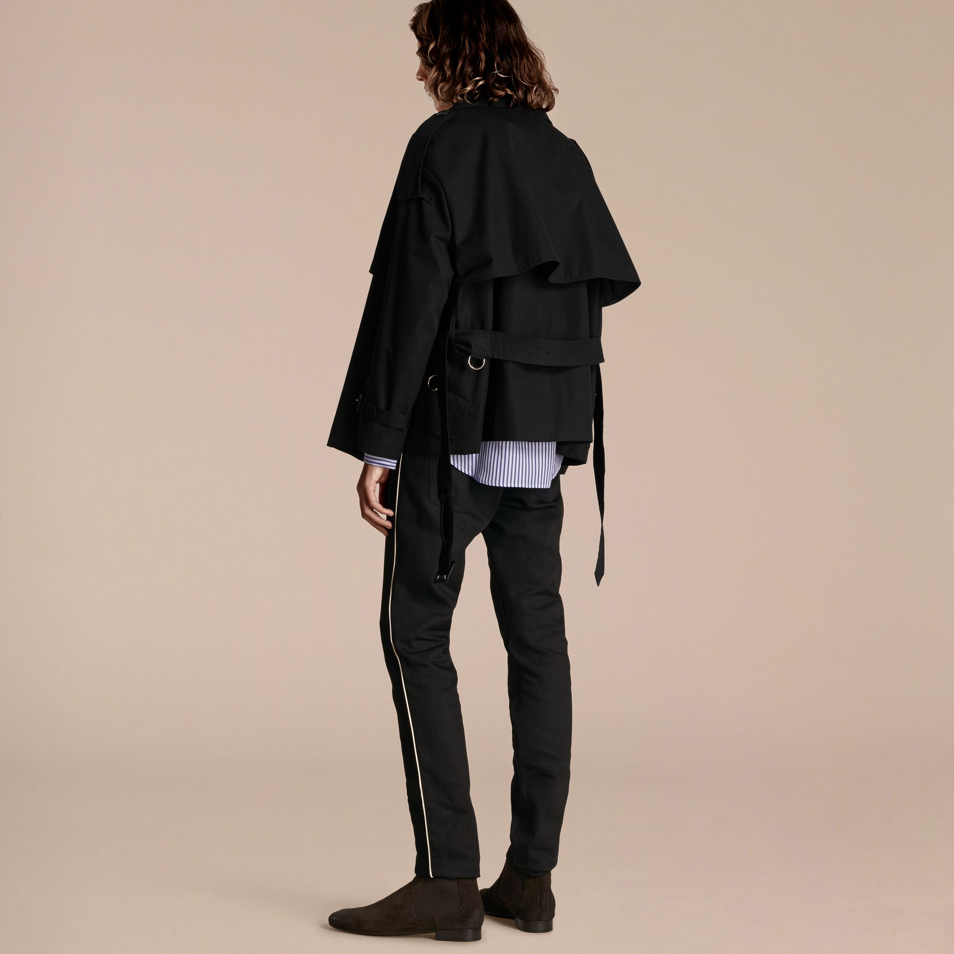 Black Cotton Gabardine Deconstructed Trench Jacket - gallery image 3