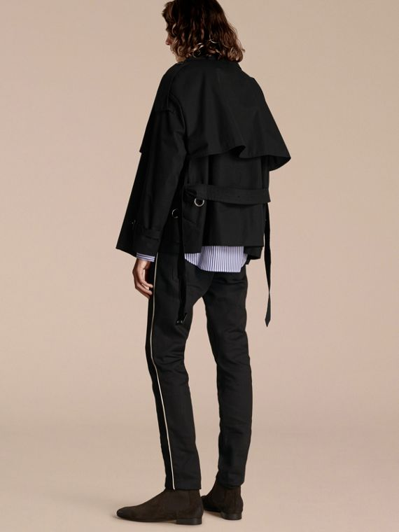 Black Cotton Gabardine Deconstructed Trench Jacket - cell image 2