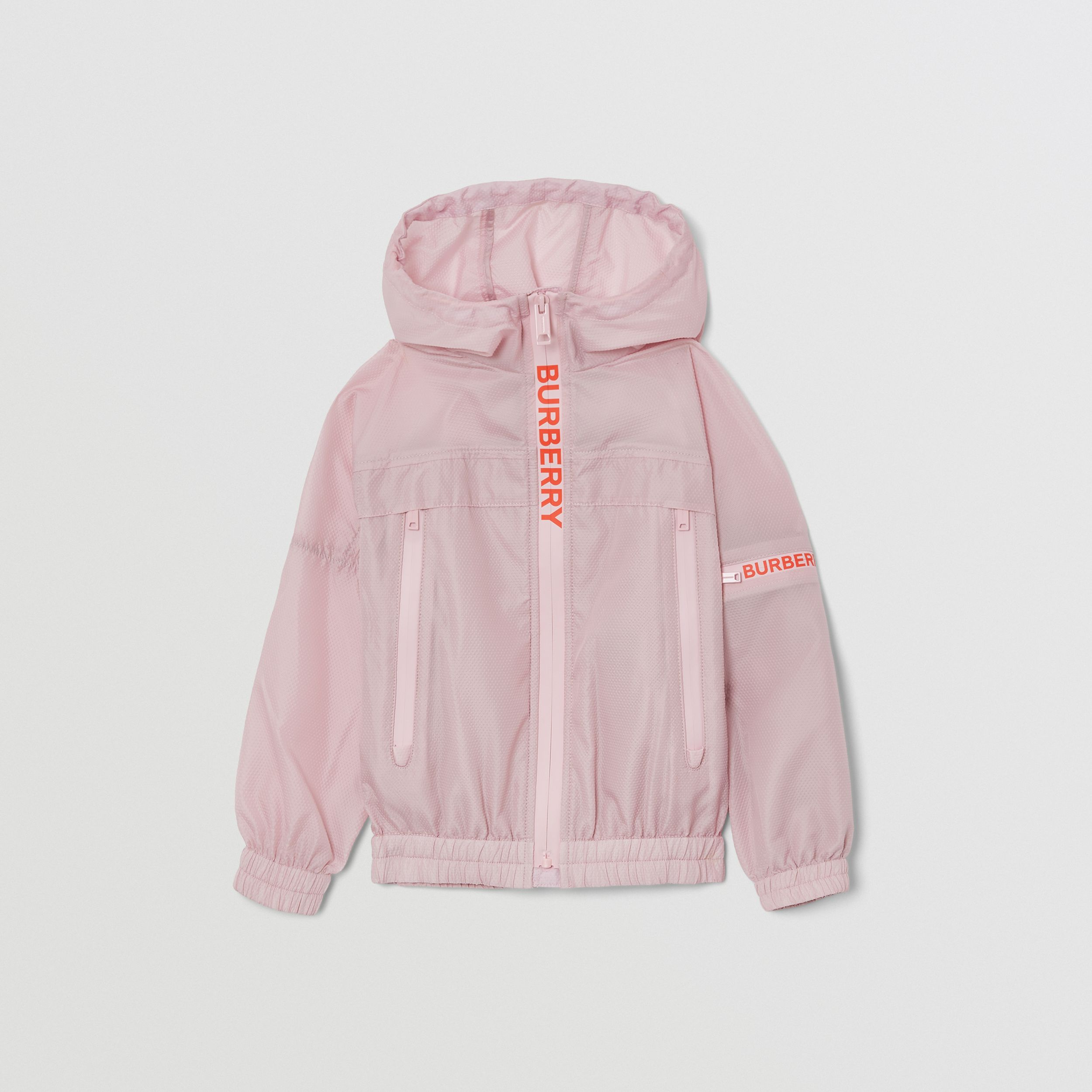Logo Print Lightweight Hooded Jacket in Pastel Pink | Burberry - 1