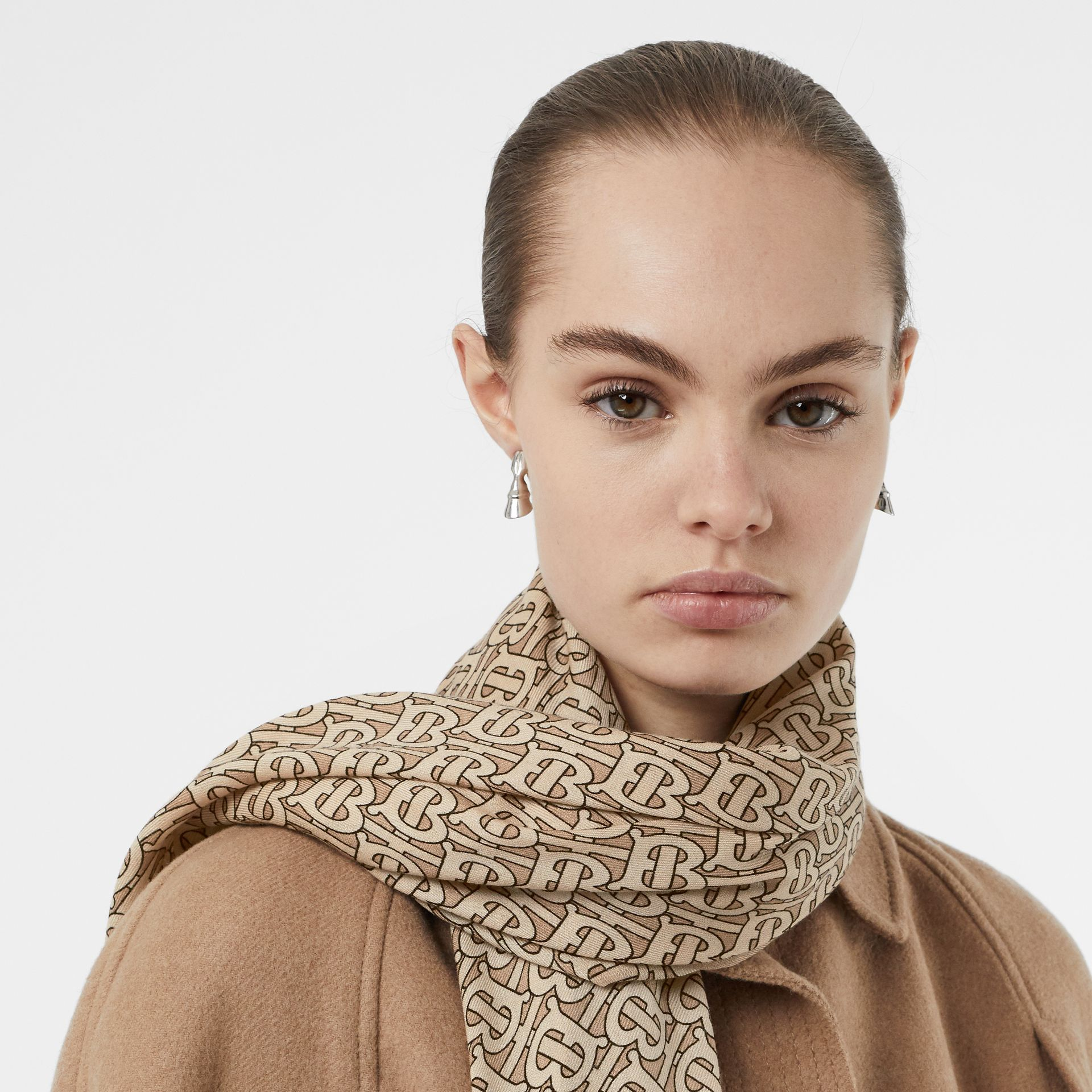 Monogram Print Lightweight Cashmere Scarf in Pale Camel | Burberry Singapore - gallery image 2