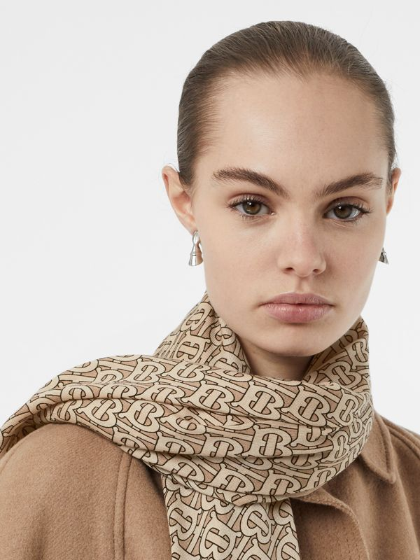 Monogram Print Lightweight Cashmere Scarf in Pale Camel | Burberry - cell image 2