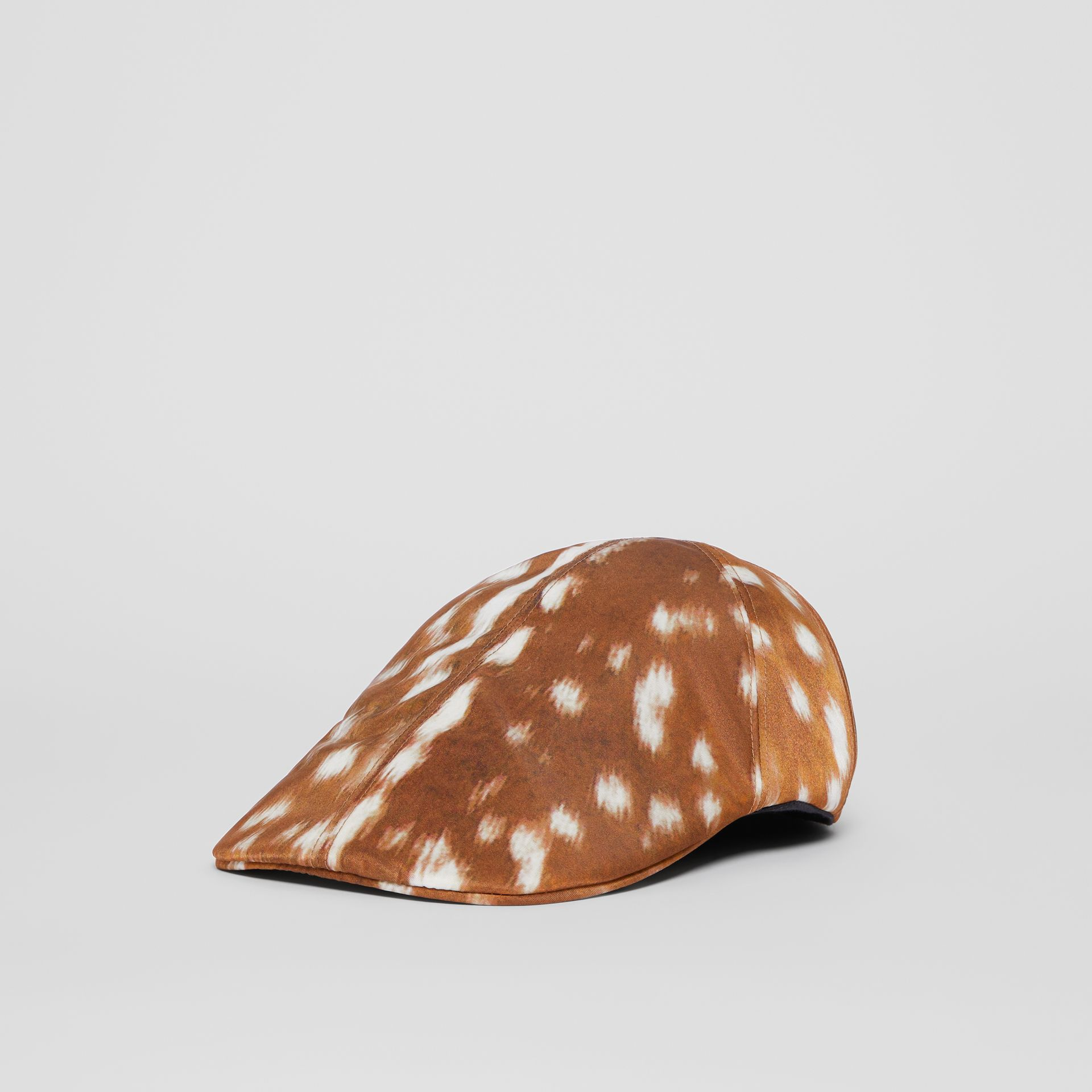 Deer Print Nylon Flat Cap in Tan | Burberry - gallery image 5