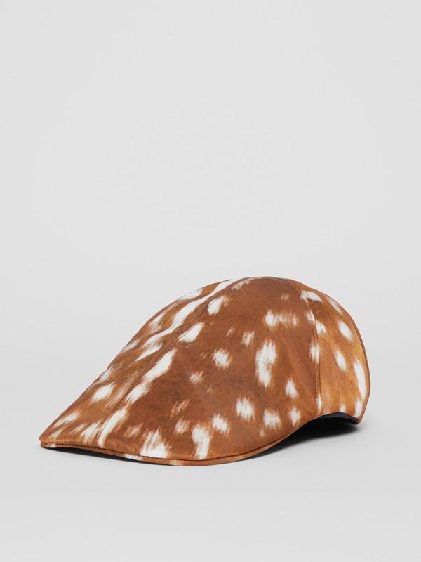 Deer Print Nylon Flat Cap in Tan | Burberry - cell image 3