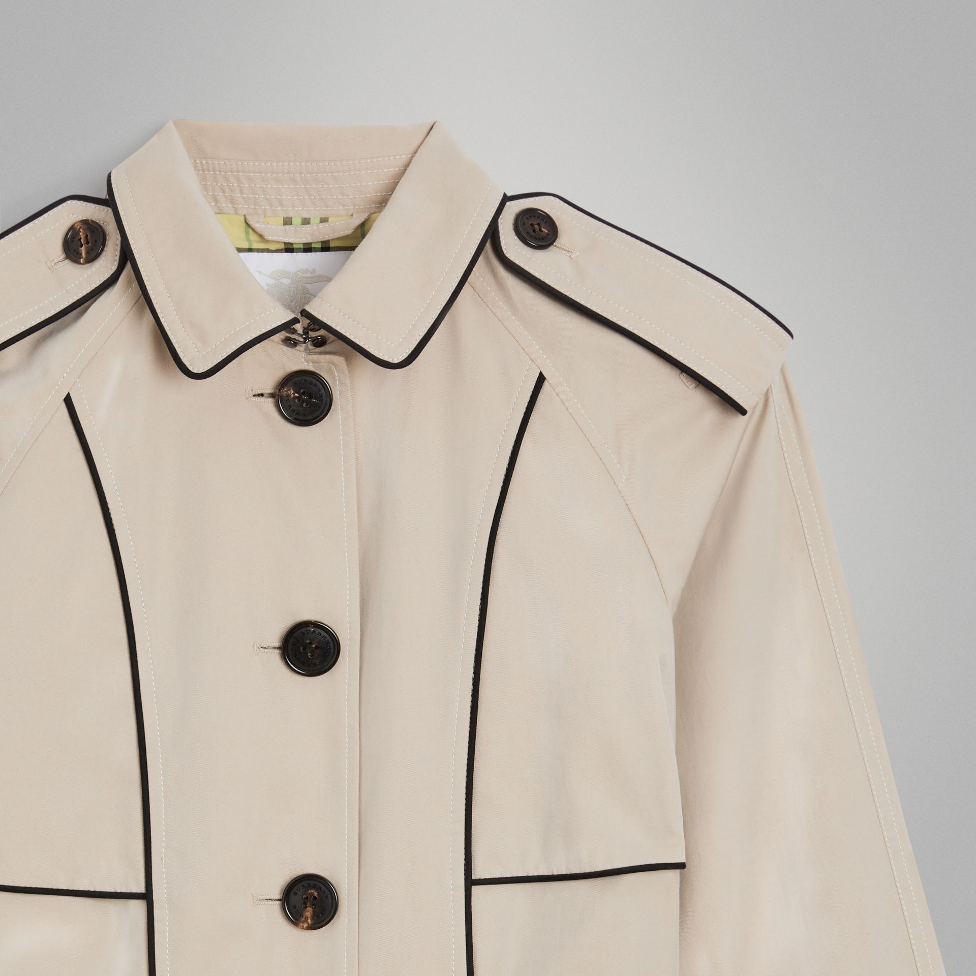 Piping Detail Tropical Gabardine Trench Coat in Stone | Burberry - gallery image 5