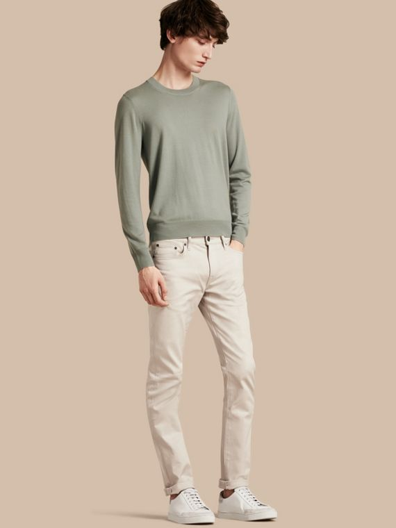 Slim Fit Japanese Stretch Denim Jeans Pale Stone