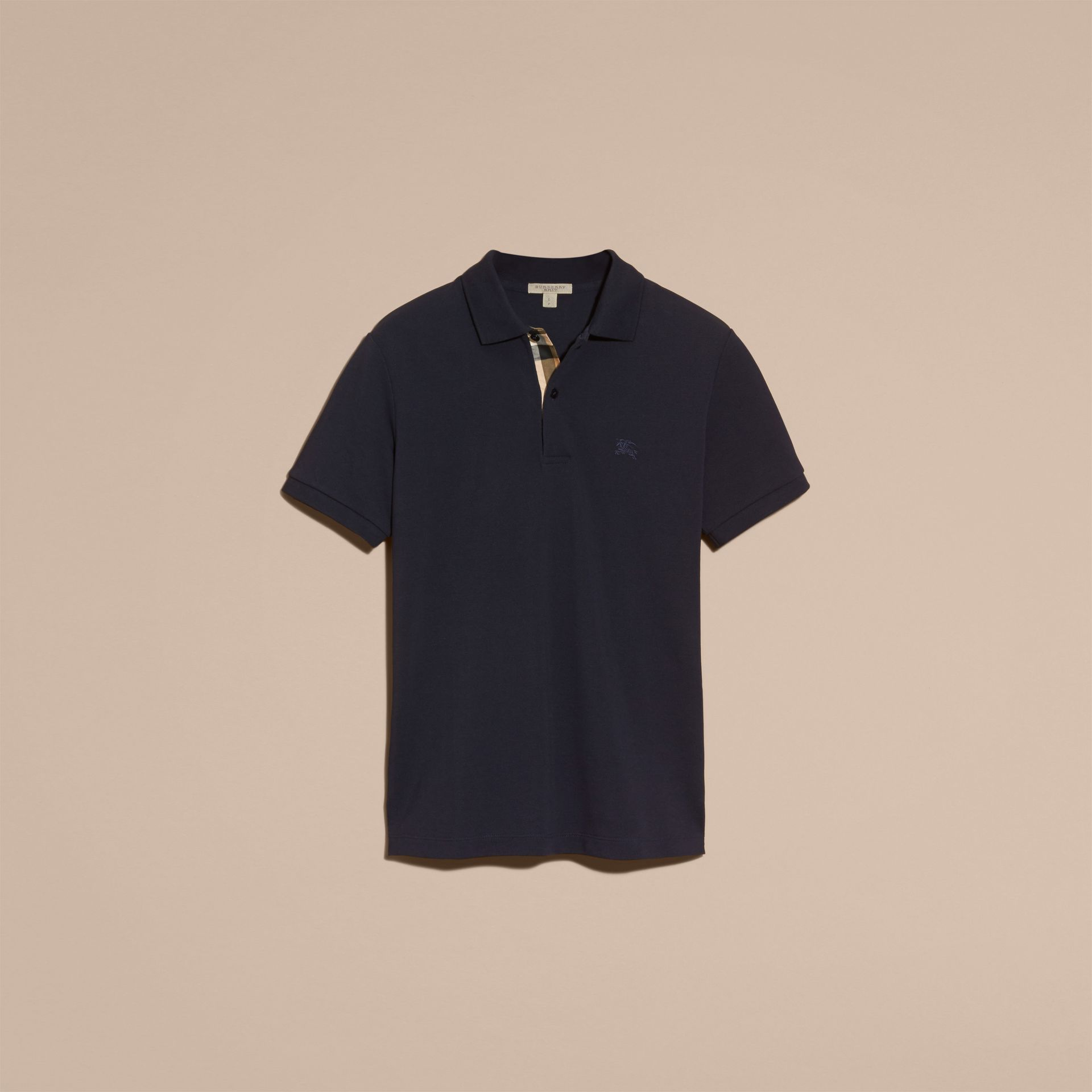 Dark navy Check Placket Cotton Piqué Polo Shirt Dark Navy - gallery image 4