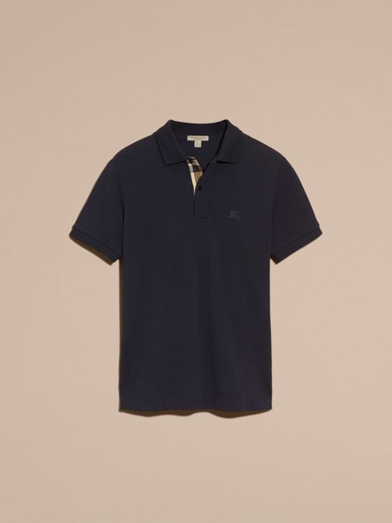 Check Placket Cotton Piqué Polo Shirt in Dark Navy - cell image 3