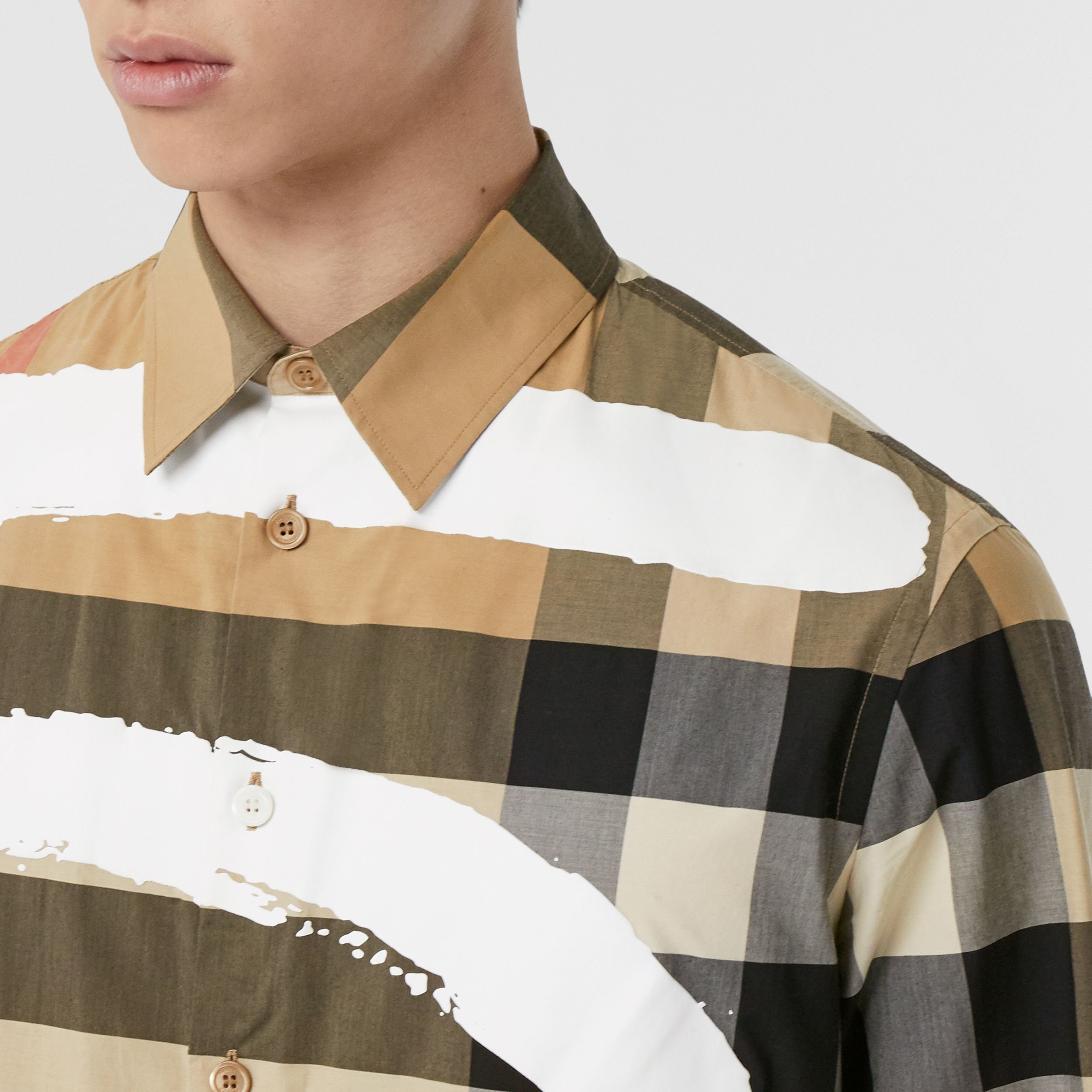 Love Print Check Stretch Cotton Oversized Shirt in Archive Beige - Men | Burberry - 2