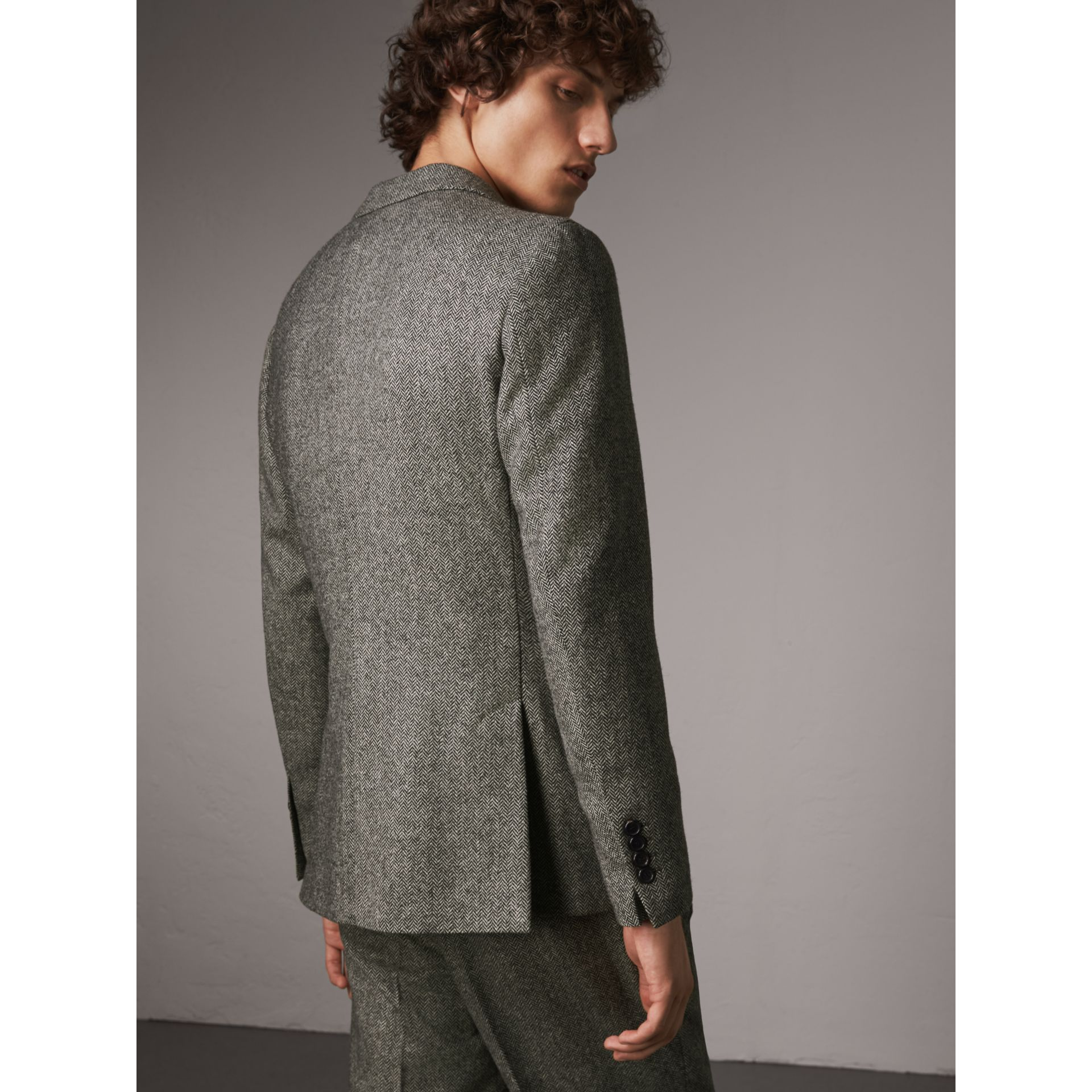 Soho Fit Herringbone Wool Tailored Jacket in Black / White - Men | Burberry - gallery image 2