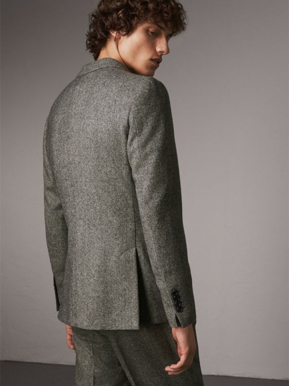 Soho Fit Herringbone Wool Tailored Jacket in Black / White - Men | Burberry - cell image 2