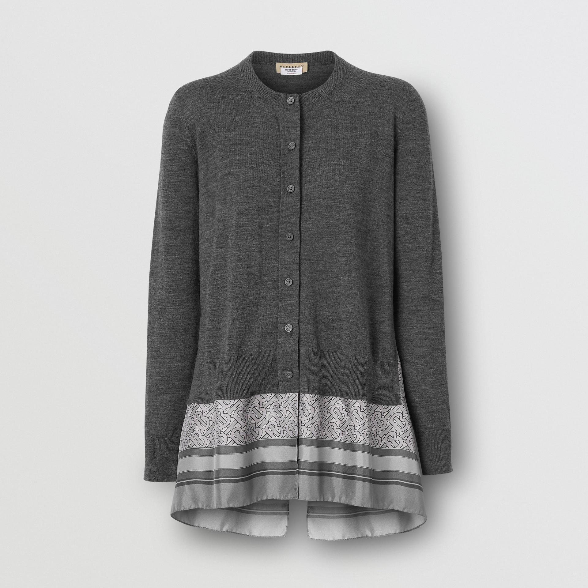 Cardigan in lana con dettaglio foulard e stampa monogramma (Grigio Mélange) - Donna | Burberry - immagine della galleria 3