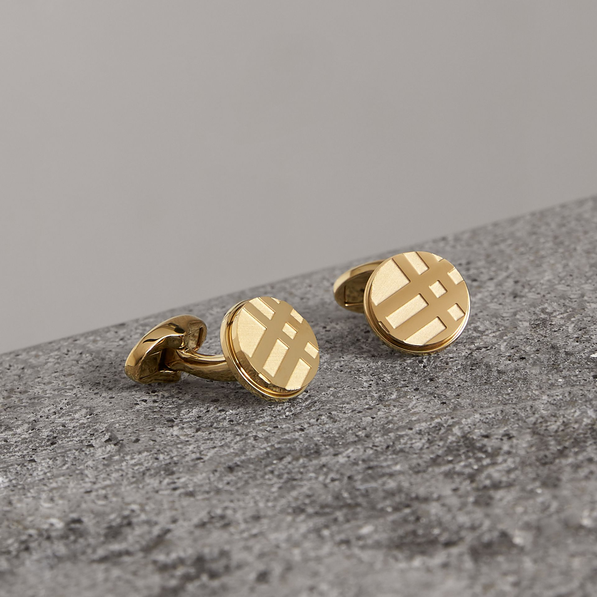 Check-engraved Round Cufflinks in Pale Gold - Men | Burberry Australia - gallery image 0