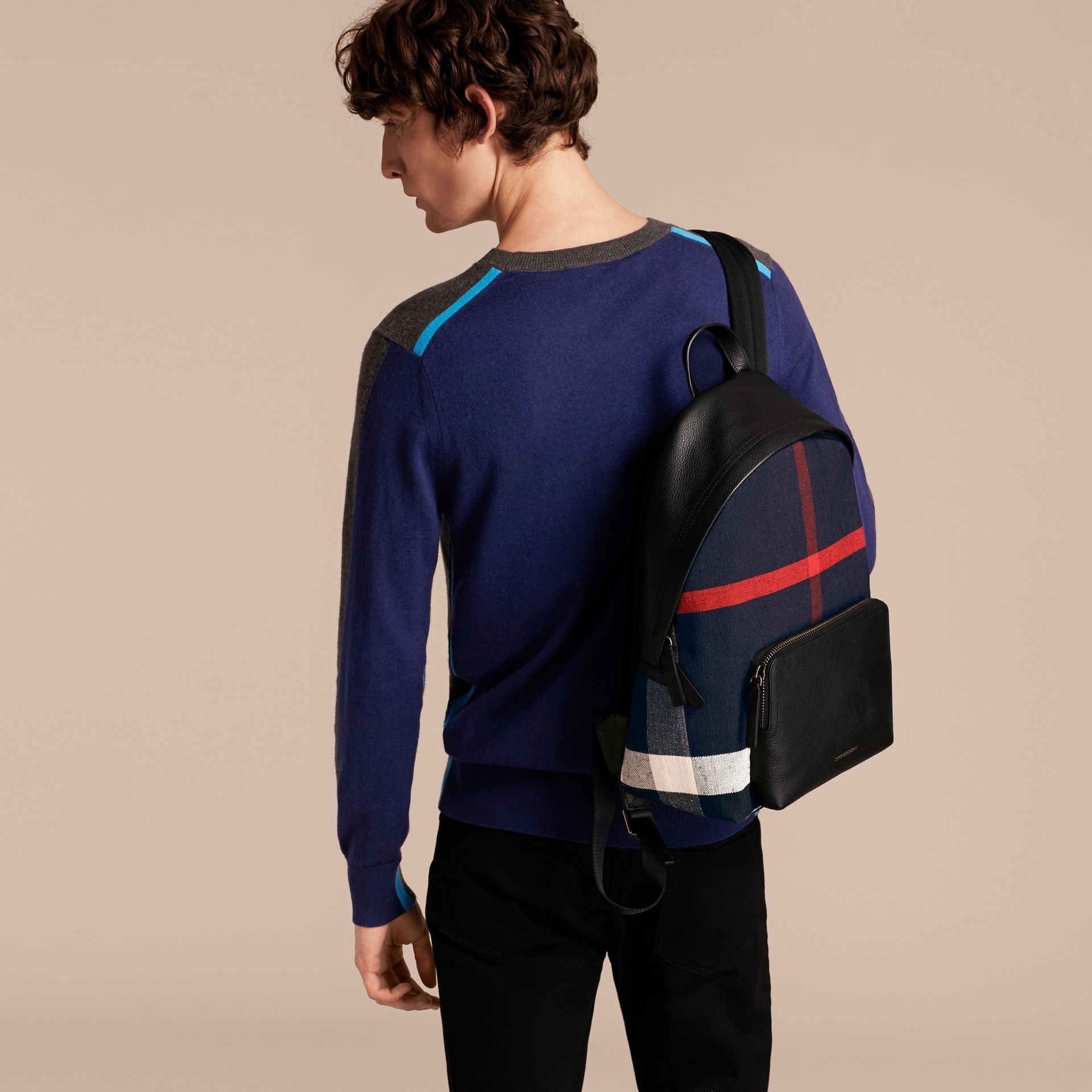 Canvas Check and Leather Backpack - gallery image 3