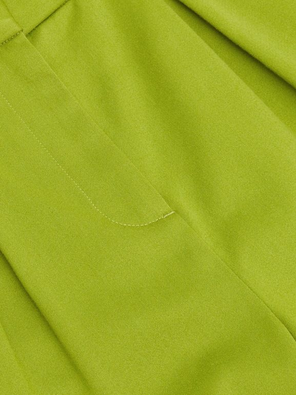 Cotton Sateen Tapered Trousers in Bright Green - Girl | Burberry - cell image 1