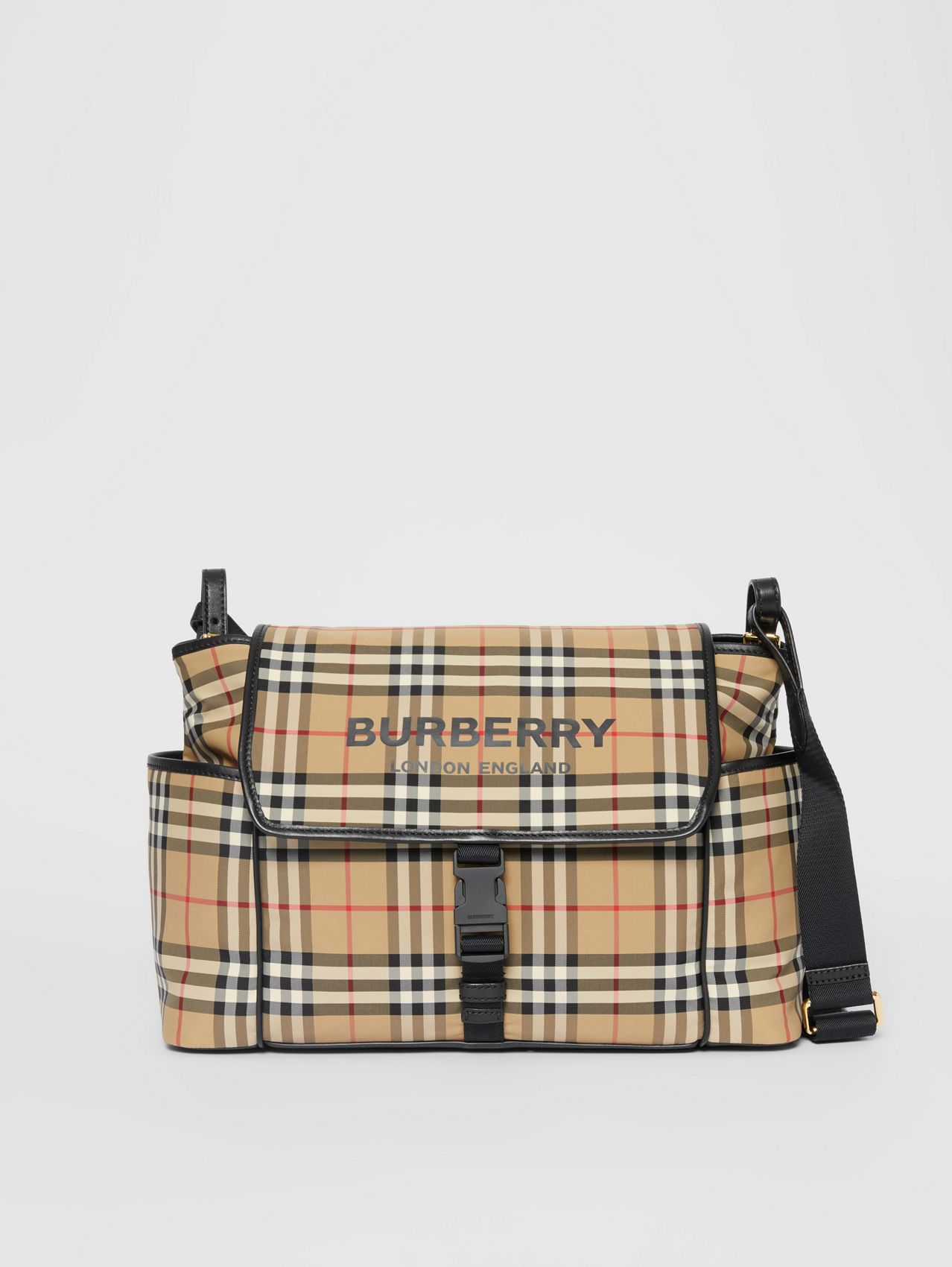 Logo Print Vintage Check Baby Changing Bag (Archive Beige)