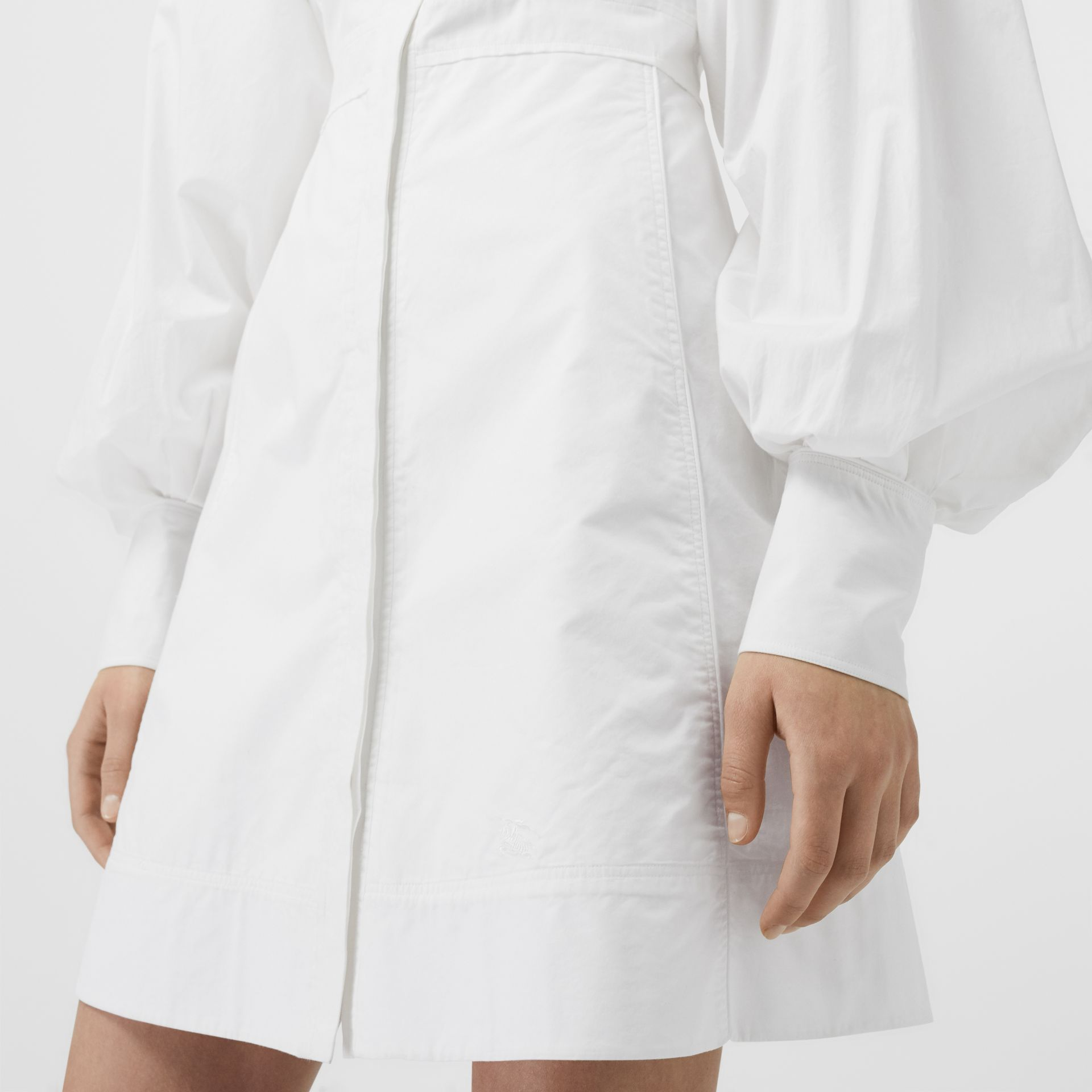 Puff-sleeve Cotton Shirt Dress in Optic White - Women | Burberry Australia - gallery image 1