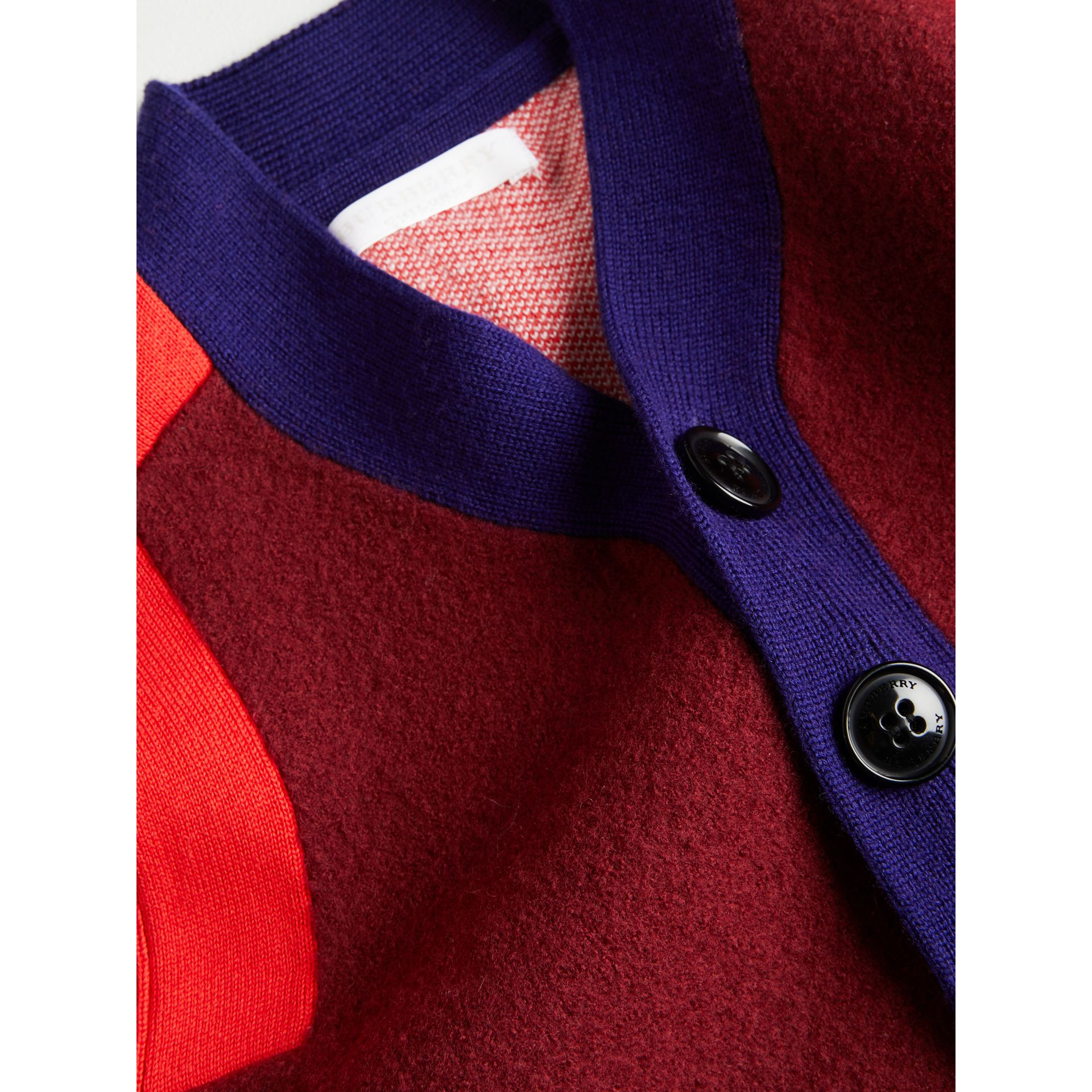 Colour Block Merino Wool Blend Cardigan in Burgundy | Burberry - gallery image 1