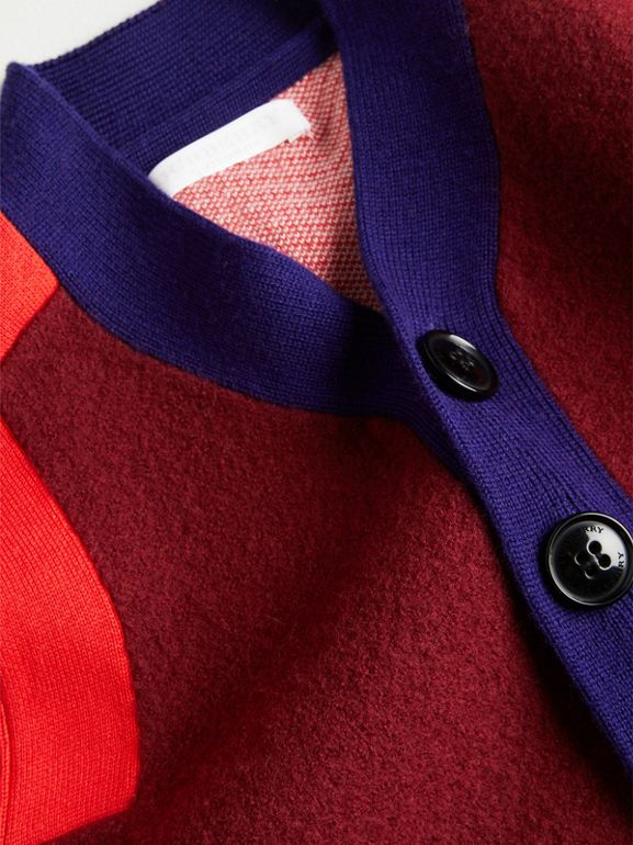 Colour Block Merino Wool Blend Cardigan in Burgundy | Burberry - cell image 1