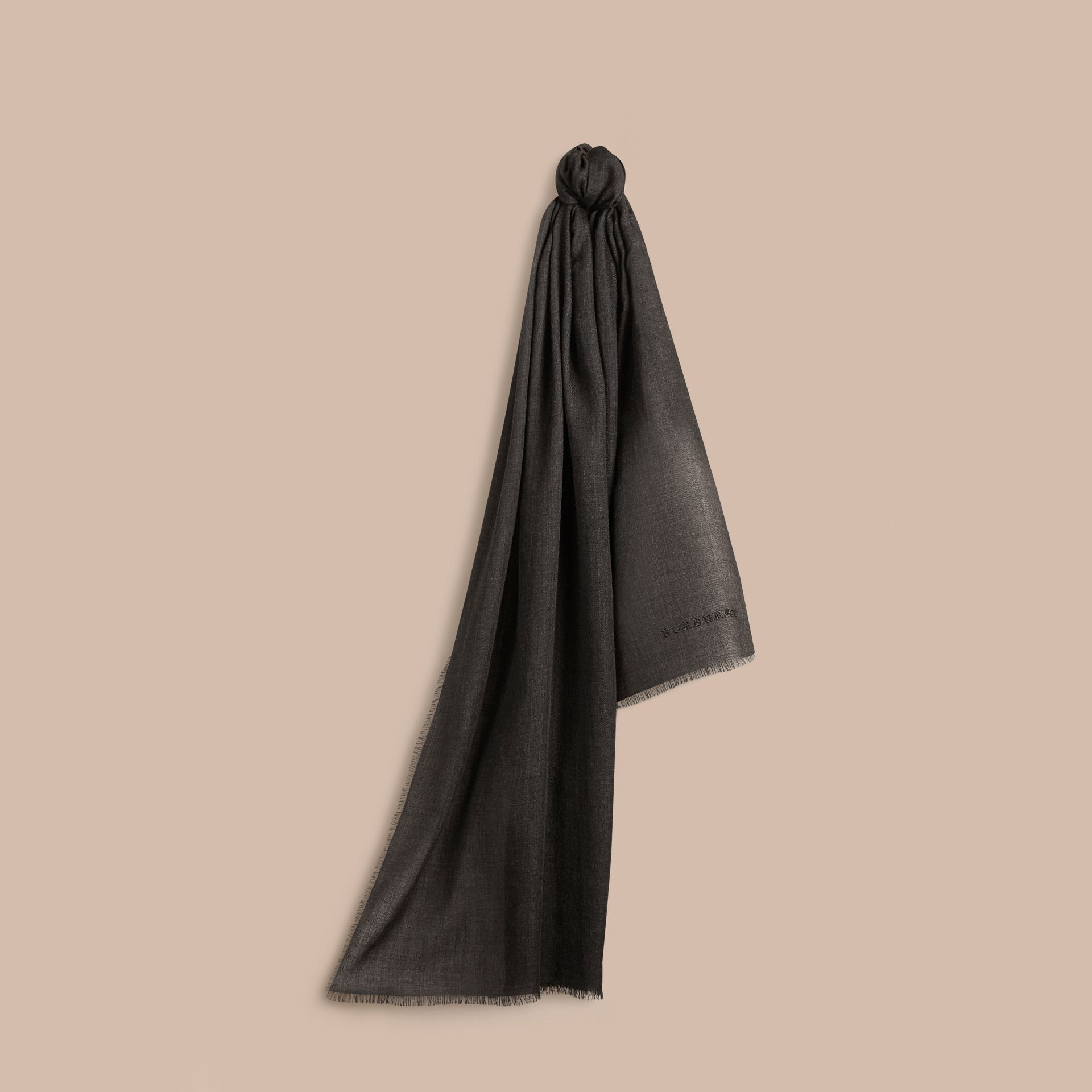 The Lightweight Cashmere Scarf in Charcoal - gallery image 6