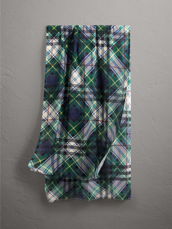 Tartan and Check Wool-silk Scarf in Ink Blue