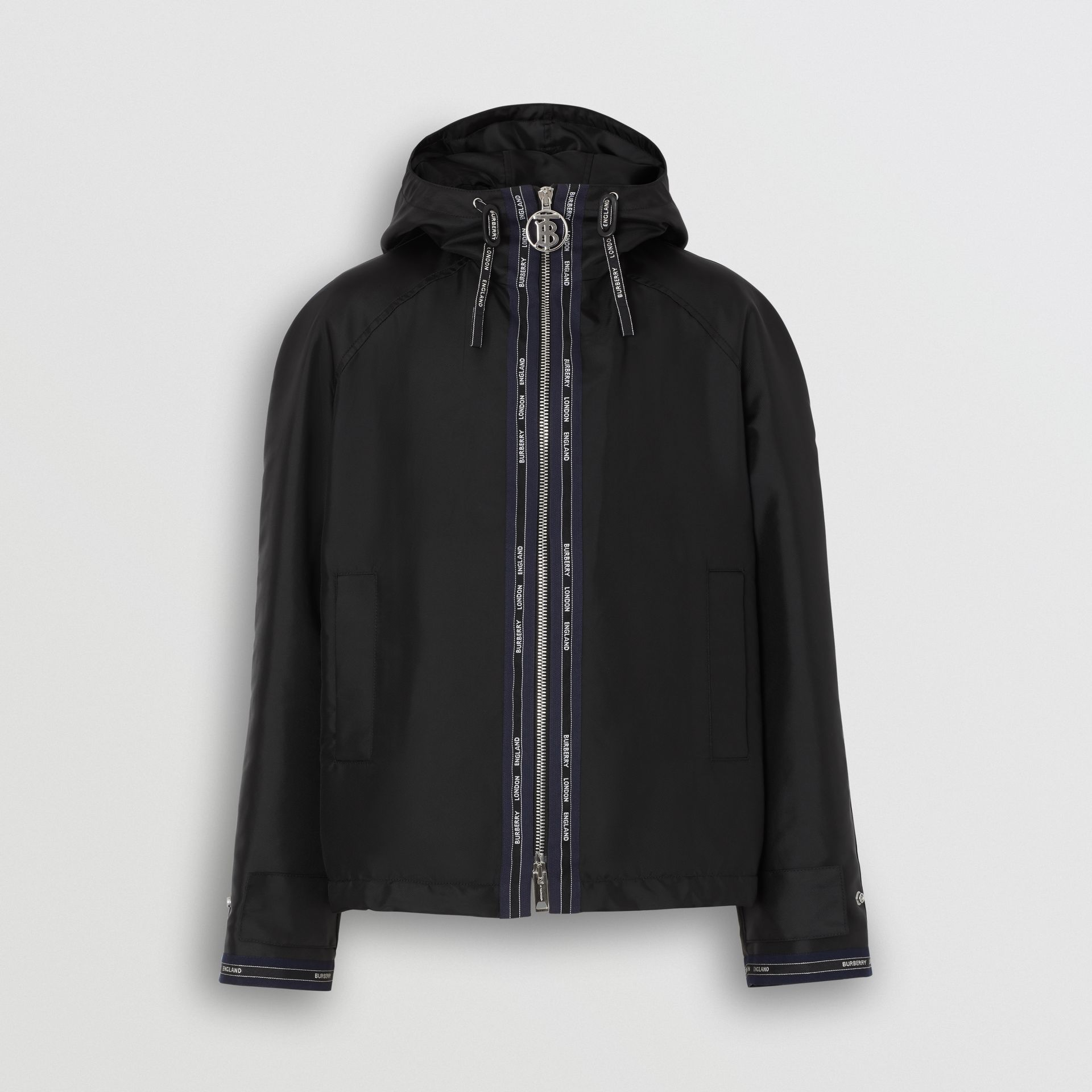 Logo Detail Nylon Hooded Jacket in Black | Burberry Australia - gallery image 3