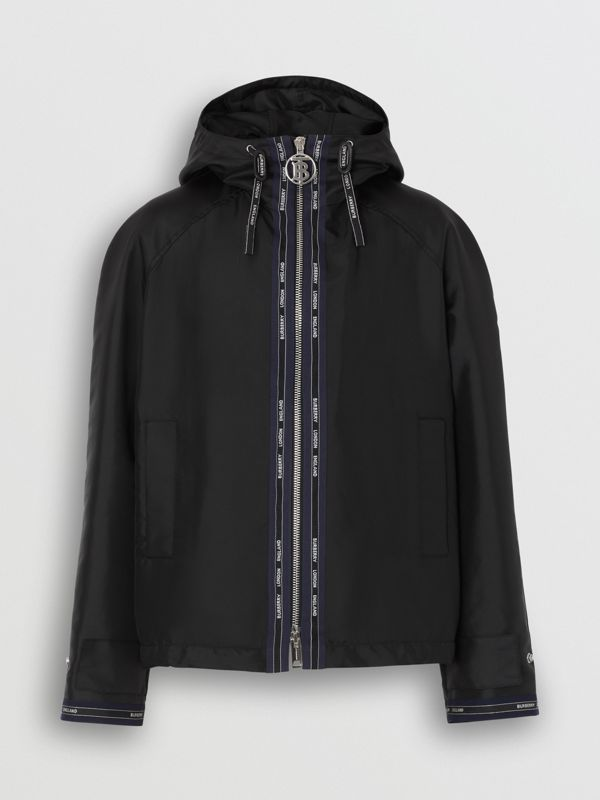 Logo Detail Nylon Hooded Jacket in Black | Burberry - cell image 3